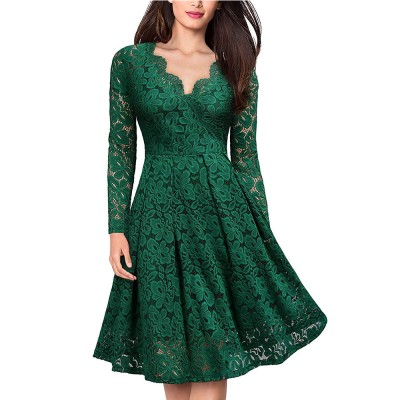 Women's Vintage Floral Lace Long sleeves Boat Neck Cocktail Formal Swing Dress
