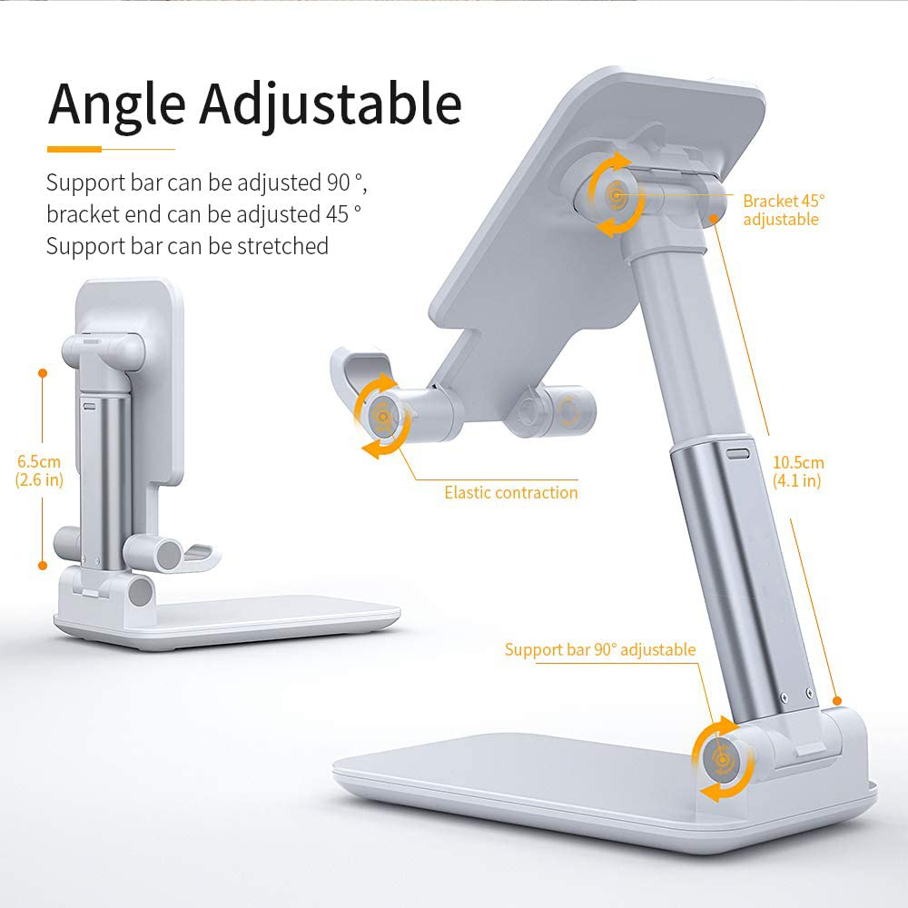 Hot Adjustable Cell Phone Holder Foldable Tablet Stand Mobile Phone Mount for Desk Case Friendly Compatible with All Mobile Phone/iPad/Kindle/Tablet Phone Dock 1