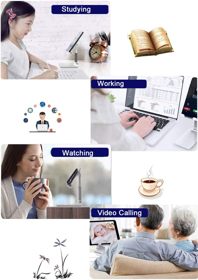 Cell Phone Stand,Fully Foldable & Adjustable Phone Stand for Desk Portable Phone Holder with Silicone Anti-Slip Pad Compatible with All Mobile Phones 1