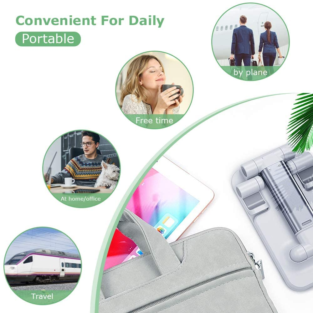 Cell Phone Stand,Fully Foldable & Adjustable Phone Stand for Desk Portable Phone Holder with Silicone Anti-Slip Pad Compatible with All Mobile Phones 2