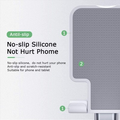 Cell Phone Stand,Fully Foldable & Adjustable Phone Stand for Desk Portable Phone Holder with Silicone Anti-Slip Pad Compatible with All Mobile Phones