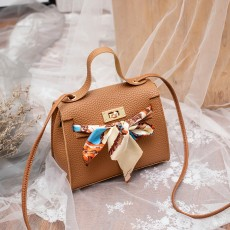 Clasp bowknot silk handbag 2020 Korean version one shoulder slanting cross bag mobile phone zero wallet