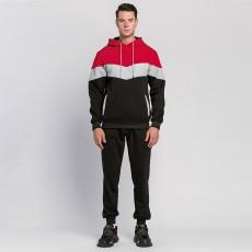 Chu_ce 2020 men's sports hoodie color block hooded wool sweatshirt