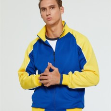 2020 men's autumn and winter new long-sleeved sports two-piece zipper cardigan fashion contrast color simple drawstring big pocket
