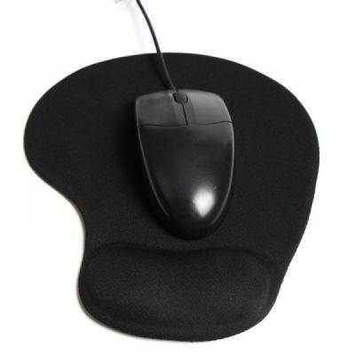 Mouse Pad with Gel Wrist Rest Support, Non-Slip PU Base Mouse Mat for Laptop Desktop (Black)