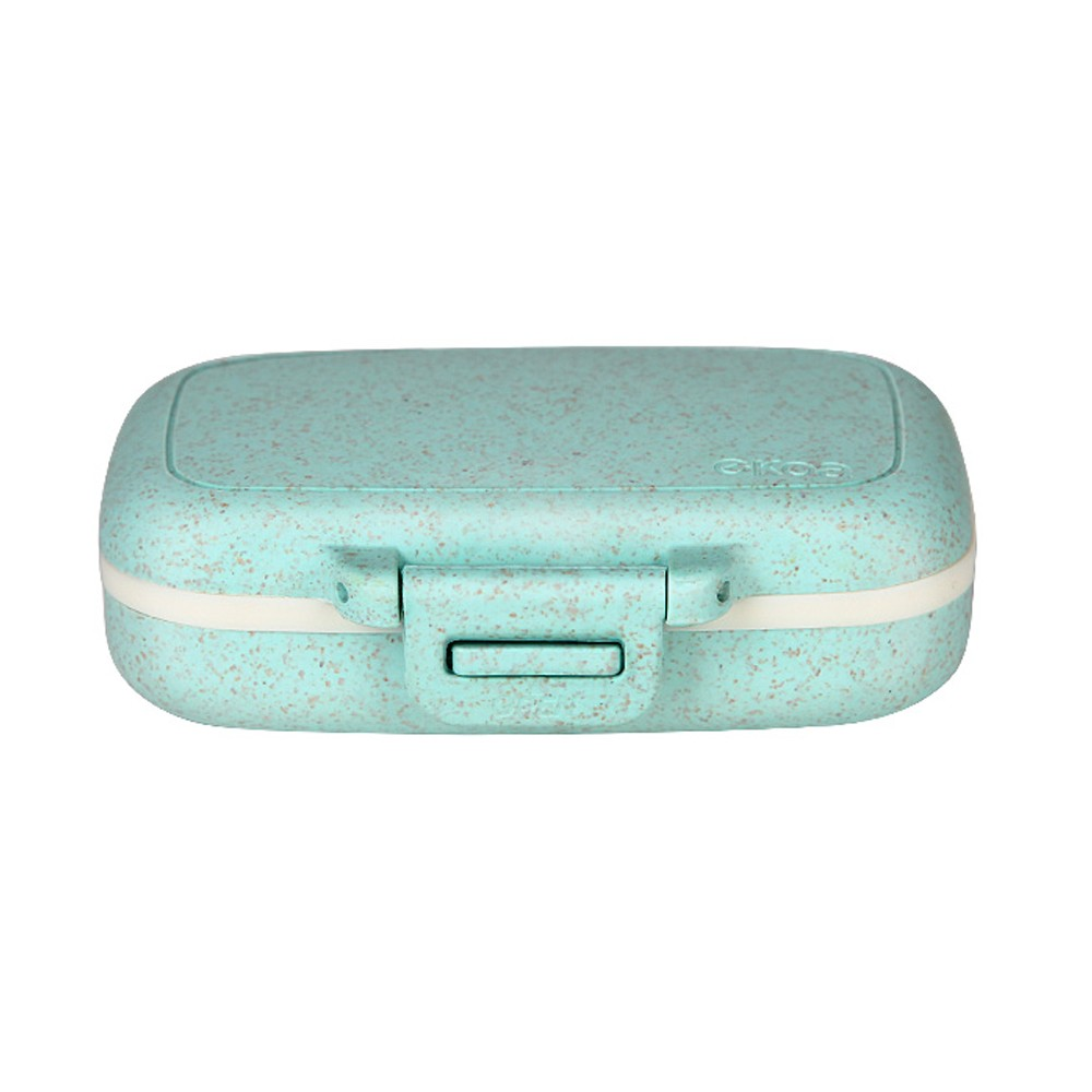 Portable Travel Pill Box, Small Natural Cereal Fiber Weekly Pill Case Storage Container with 4 Compartments for Purse Pocket
