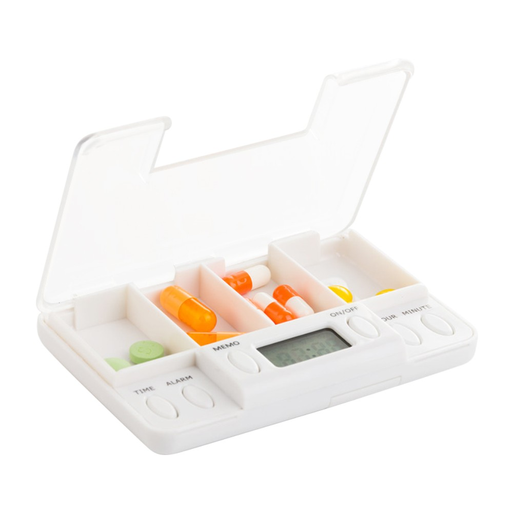 Automatic Pill Dispenser Daily Medication Organizer with 4 Compartments for Pocket or Purse, 4 Alarm Timer included