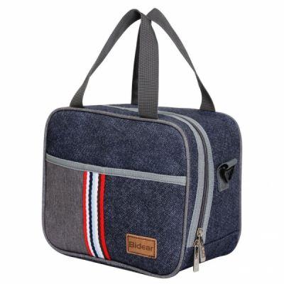 Reusable Insulated Lunch bag, Denim Blue Crossbody Lunch Bag for Women Kids Boy Girl
