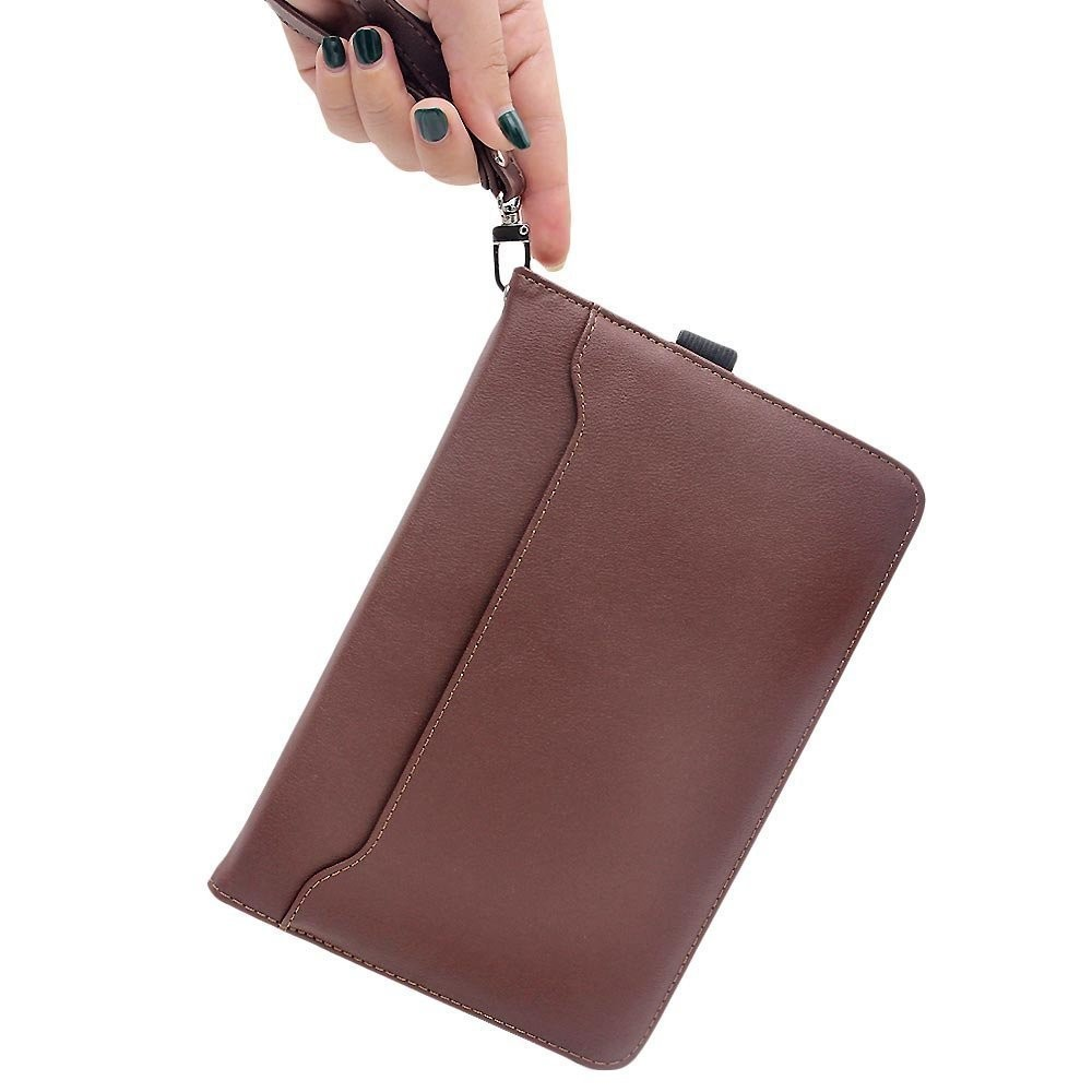 Multi function iPad Pro Leather Case With kickstand and Card Pocket, Full access to all features -Brown