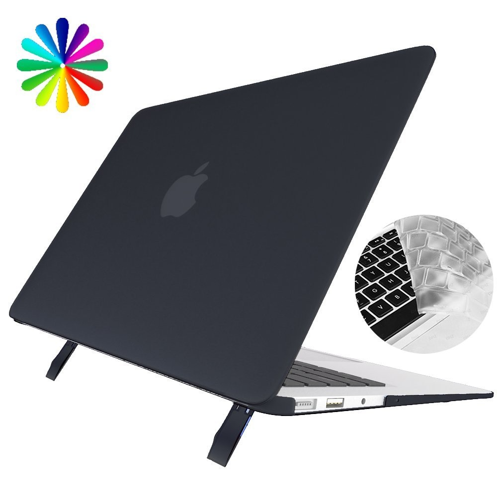 Macbook Air 13 Case with Stand, Laptop Cover Case with Foldable Stand and Keyboard Cover Skin for Apple Macbook Air 13 Inch (Black)