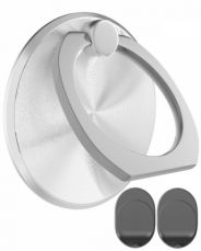 360° Rotation Finger Ring Holder and Magnetic Car Mount Stand for iPhone Smartphones and Tablets -Silver