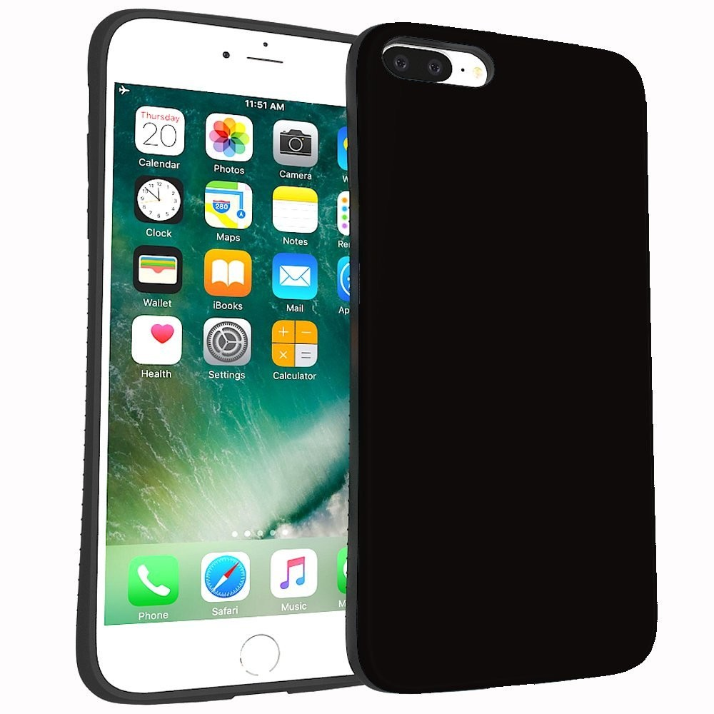 IPhone 7 case,iPhone 8 plus case, Rubber Rugged Shockproof Drop Protection Cover Case for IPhone 7/IPhone 8 Plus (Black)