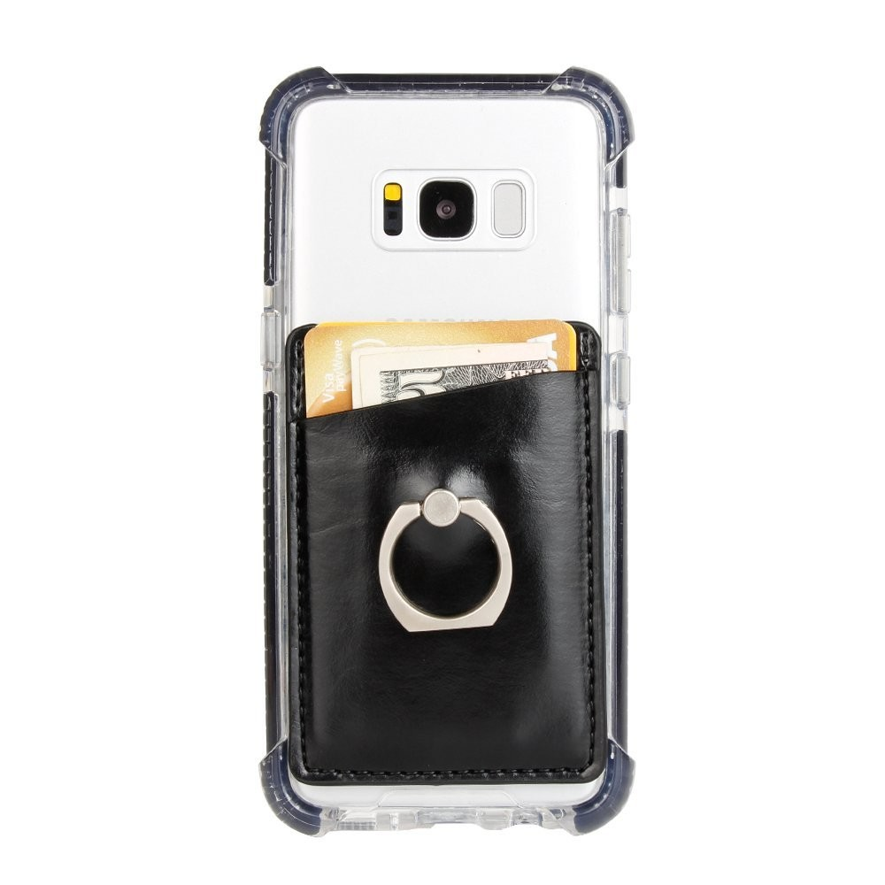 Stick On Wallet Card Holder for Mobile Phone with a Finger Ring Stand Holder -Black