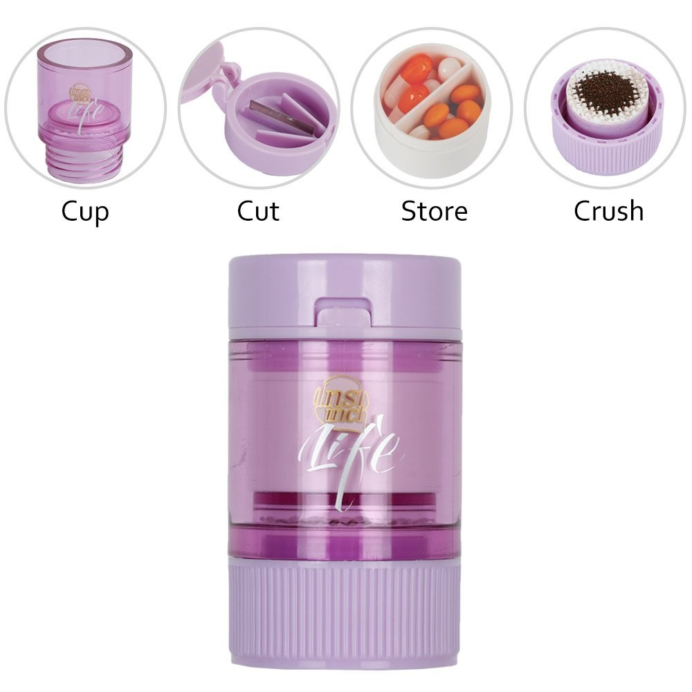 3 IN 1 Travel Pill Case, Multi-Function Tablet Splitter And pill Crusher with Storage Container - Purple