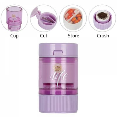 3 IN 1 Pill Tablet Cutter Powder Grinder Medicine Box Storage Container - Purple