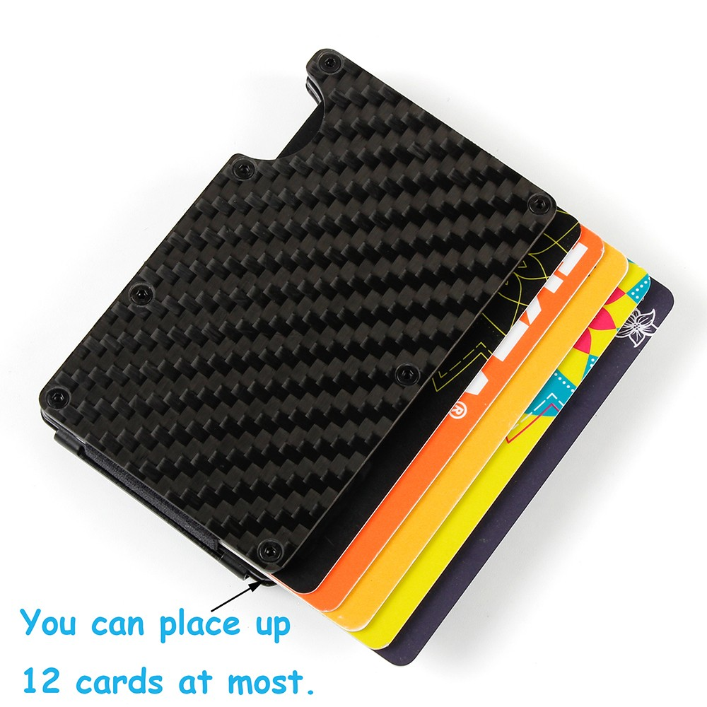 RFID Blocking Credit Card Holder, Carbon Fiber Slim Front Pocket Wallet with Money Clip For Men.