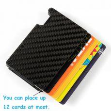 RFID Blocking Credit Card Holder, Carbon Fiber Slim Front Pocket Wallet with Money Clip For Men.