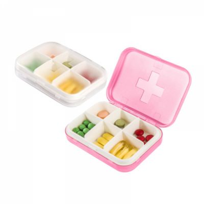 Airtight Portable Pill Box with 6 Compartments, Moistureproof Weekly Medicine Organizer Box forTravel