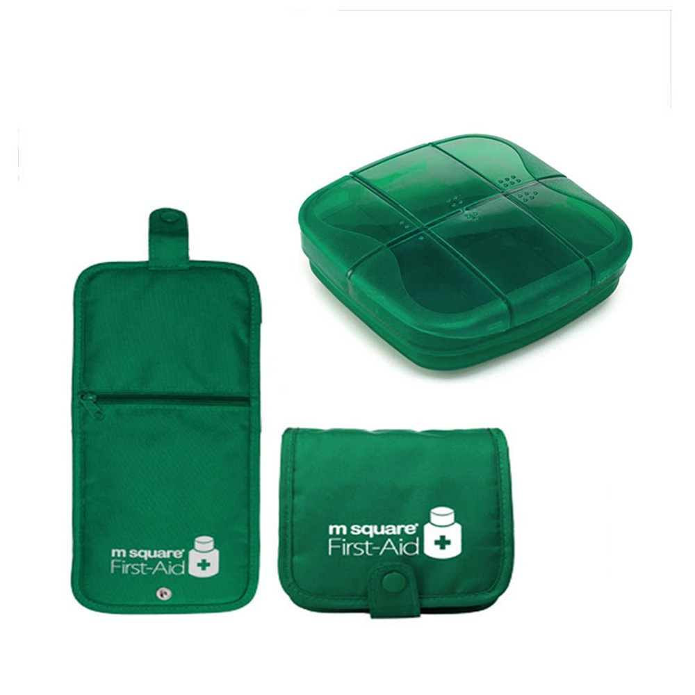 Outdoor Moistureproof Pill Box with nylon First-Aid Packet, 6 compartments Waterproof Medicine Storage Organizer Case
