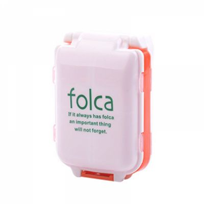 3-folding Pill Boxes With 8 Removable Compartments, Folca Portable Weekly Pill Case For Travel