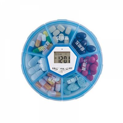 Weekly Digital Pill Organizer with Alarm Clock Timer Reminder and 7 Compartments for Vitamins Supplements and Medication