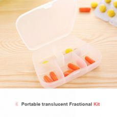 Translucent Weekly Pill Box for Travel, Large Size 5-Day Pocket Pill Organizer with 5 Compartments