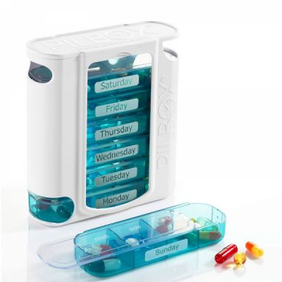 Extra Large Weekly Pill Case 4 Times-a-Day, Removable Travel Pill Organizer for Weekly Use