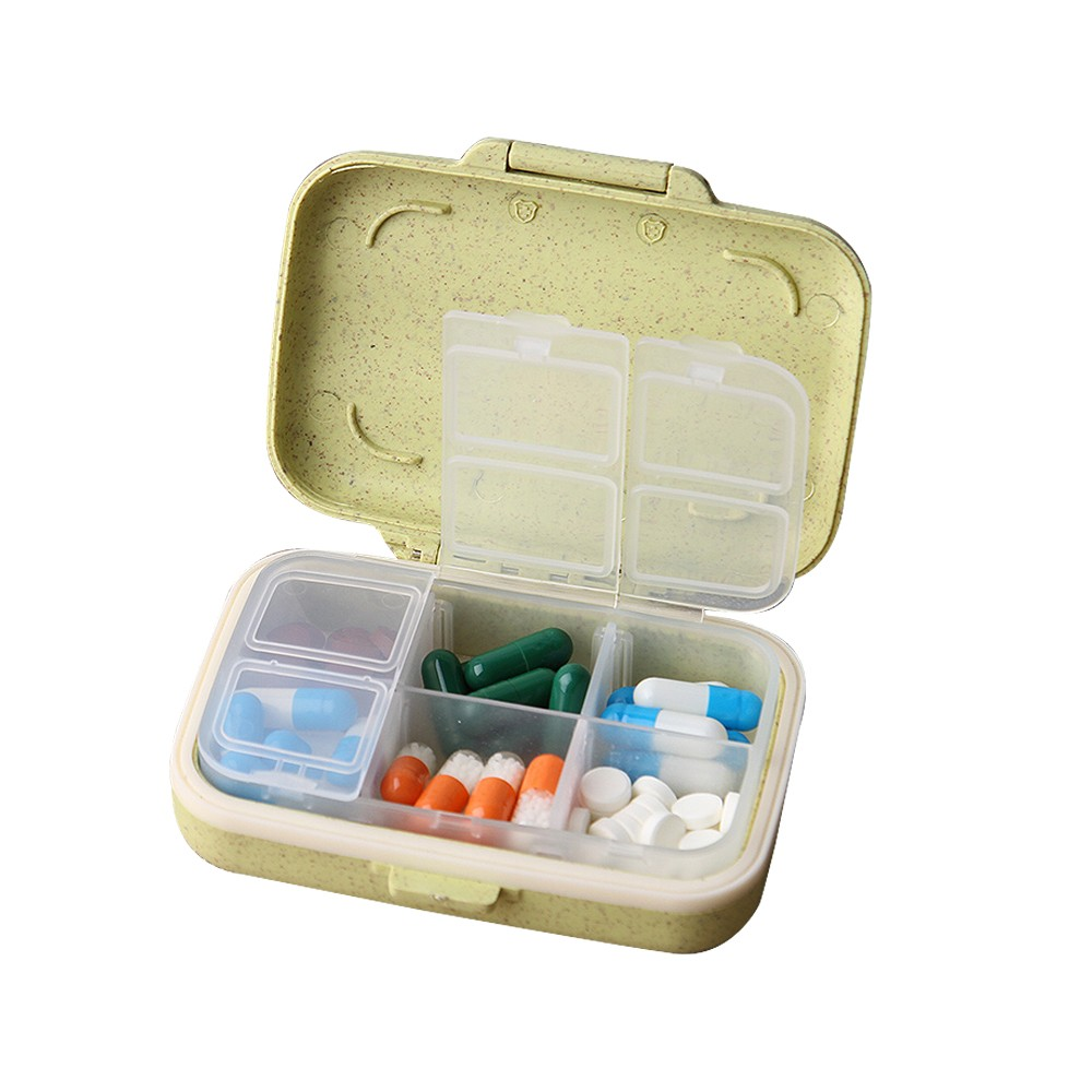 Natural Wheat Fiber Travel pill Organizer With Removable 6-Compartment for Weekly Use