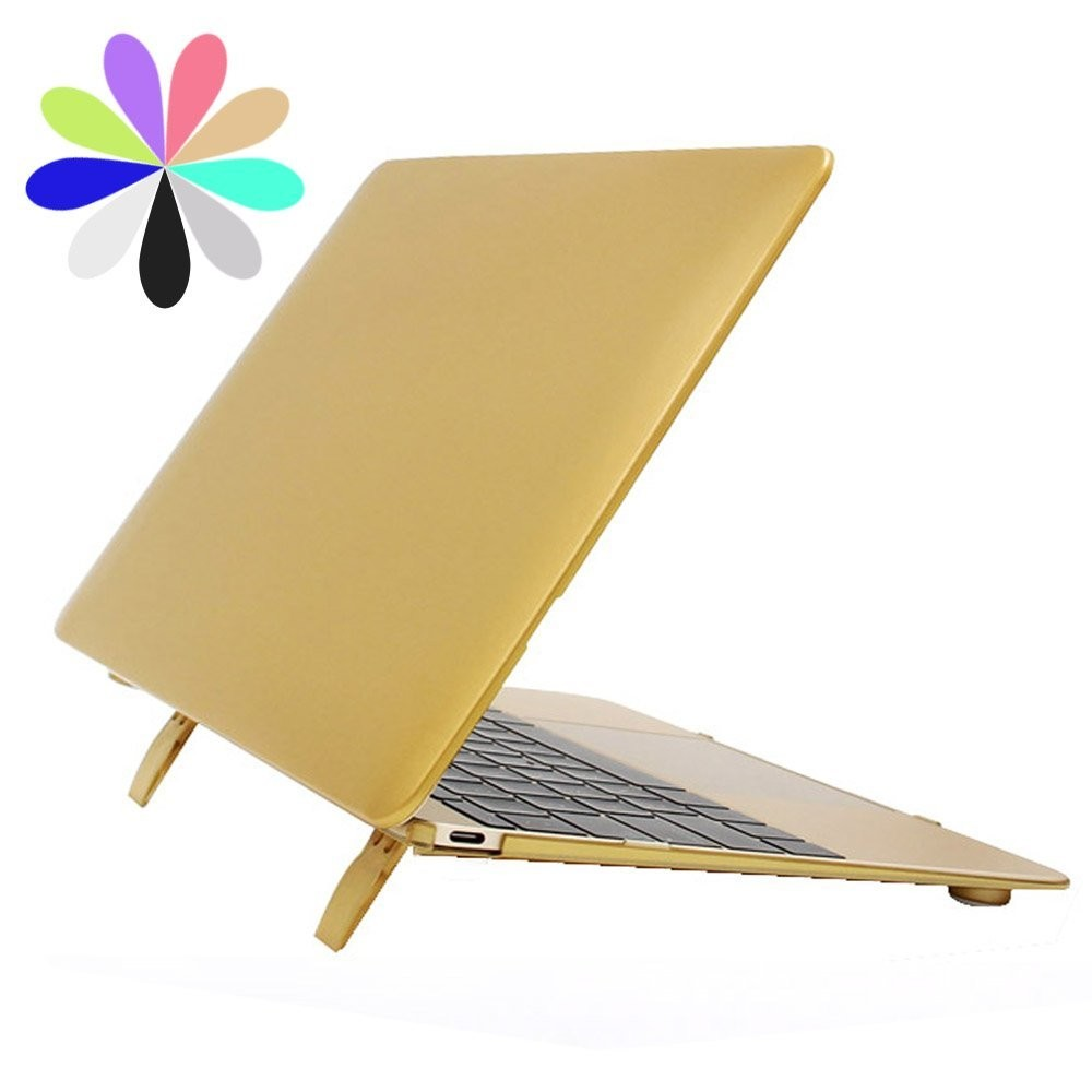 Macbook Pro 13 Case with Stand, Plastic Hard Case Shell with Keyboard Cover for MacBook Pro 13 (Gold)