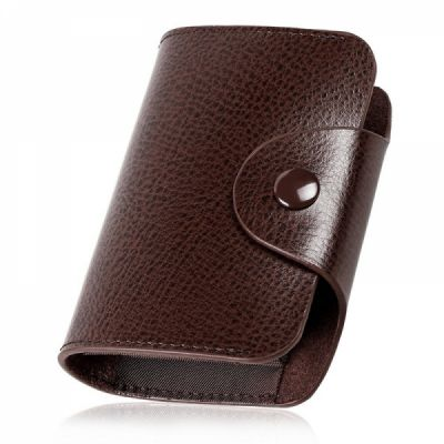 Leather Credit Card Holder For Men, Leather Wallet with 13 Card Slots For Travel & Front Pocket Use