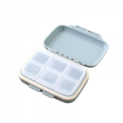 6 Compartment Pill Box, Portable Waterproof Pill Box For Weekly And Travel Use