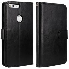 Google Pixel PU Leather Flip Wallet Case with Card Slot and Kickstand Feature - Black