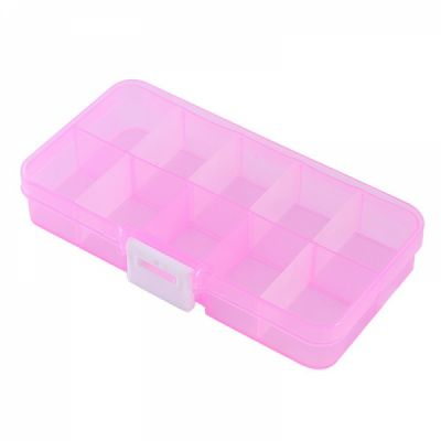 Adjustable Pill Box for Weekly Use Clear PP Storage Box with Removable Dividers 10 Slots