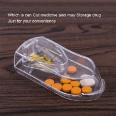 Pill Tablet Cutter with Room for Storing Medication Transparent Pill Cutter