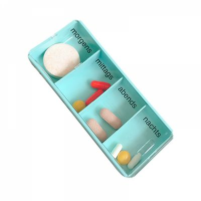 Mini Portable 4 Slots Travel Pill Box, Medical Storage Container For pocket or Purse