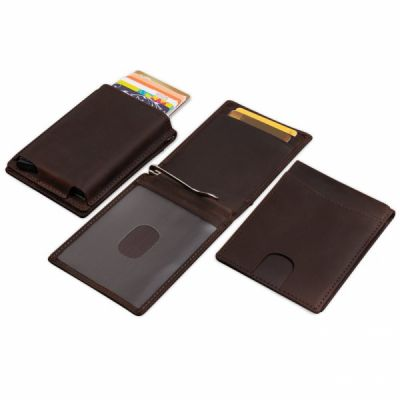 Slim Genuine Leather Wallet For Men, RFID Blocking Credit Card Holder with Automatic Pop-up Card Case