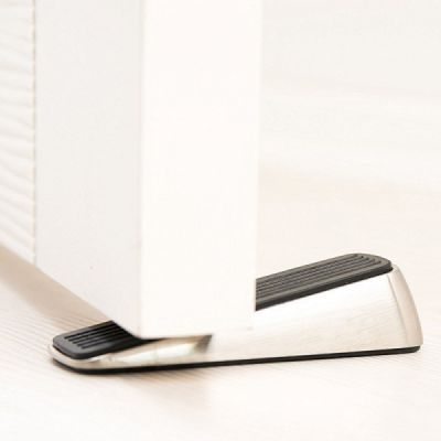 Heavy Duty Non-Slip Door Stopper with Wedge Rubber, Pack Of 2 Metal Stainless Steel Door Stopper for Baby Safety