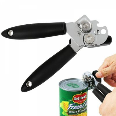 Heavy Duty Manual Can Opener, Stainless Can Opener with Smooth Hard Cutting Edge and Comfortable Grip Handle