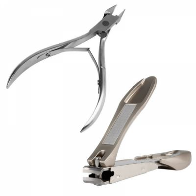 Nail Clipper and Stainless Steel Cuticle Nipper, Ideal for Thick & Ingrown Nails