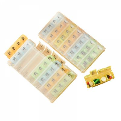 Detachable 7-Day Pill Organizer with 28 Compartments, Weekly Pill Box Bonus 1 transparent pill cutter