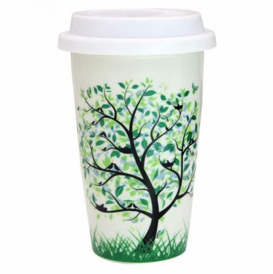 Ceramic Travel Mugs with Silicone Lid, Double Walled Insulated Cup for Tea/Hot Drinks/Coffee/Milk (350 ml)