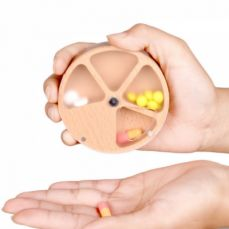 Wooden Pill Box with 4 Compartments, Round Pill Case for Men or Women