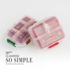 Double Layer Portable Pill Box, pack of 2 Christmas style Pill Case for Daily or Travel Use