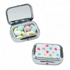 Pill Box with Internal Mirror, Small Metal Pill Box for Daily or Travel Use