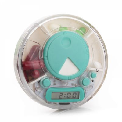 Rotating Pill Dispenser with Timer Alarm Clock Reminder, 7 Days Electronic Medication Organizer for Patients or Carers