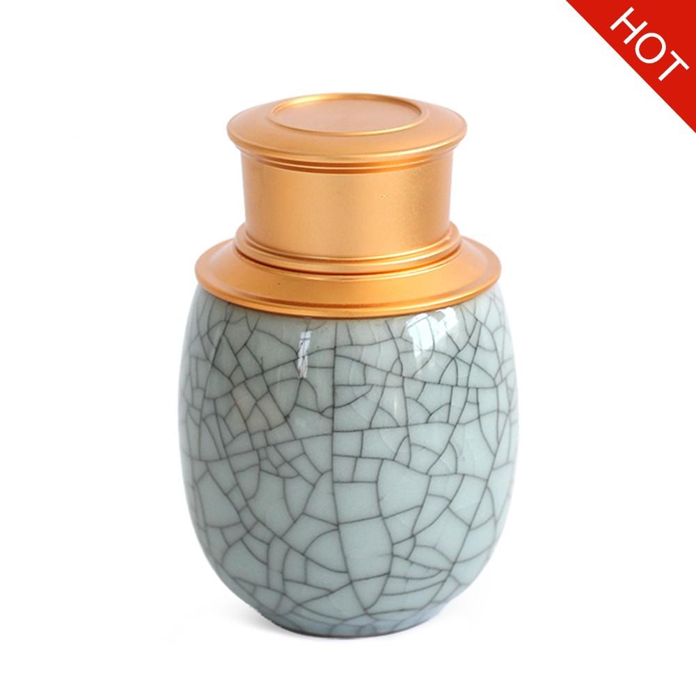 Elegant Ceramic Pill Storage Jar with cuprum Lid, Airtight storage Container for Matcha Tea, Caddy, Pills, medicine Powder