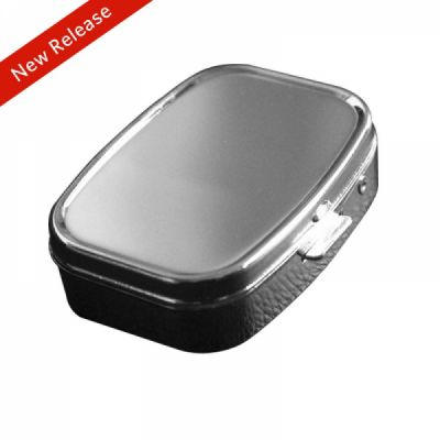Travel Portable Stainless Steel Pill Box with Mirror and 2 Plastic Grid for Daily Use