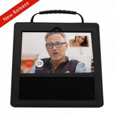 Protective Premium Leather Case for Amazon Echo Show with Non-slip Handle (Black)