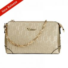 Champagne Gold Genuine Leather Handbag for Women, Fashion Women's Cross Body Bags with Zipper and Adjustable Strap