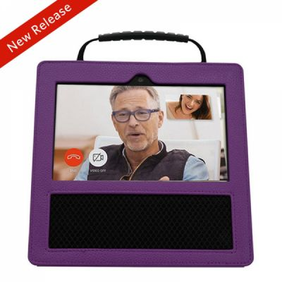Premium Leather Protective Case for Amazon Echo Show with portable handle (Purple)